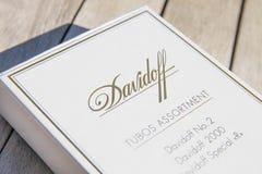 Genf/Switzerland-09 09 18: Zigarrentabak des weißen Kastens Davidoff-Zigarren stockfoto