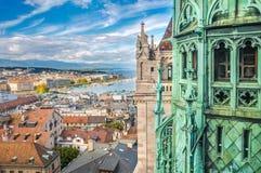 Genf von der Höhe der Kathedrale des Saint Pierre, die Schweiz Lizenzfreie Stockfotografie