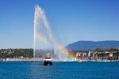 Genf-Wasserbrunnen lizenzfreie stockfotos