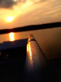 Genfersee-Sonnenuntergang Stockfotos