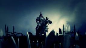 Genghis Khan con su ejército antes o después de una batalla stock de ilustración