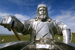 Genghis Khan Equestrian Statue in Mongolië royalty-vrije stock fotografie