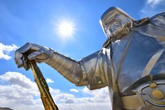 Genghis Khan Equestrian Statue, Mongolia. Genghis Khan Equestrian Statue on the sky background Royalty Free Stock Photography