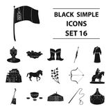 Genghis Khan, a monastery, Yurt and other sights of Mongolia. Mongolia set collection icons in black style vector symbol Stock Photography
