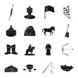 Genghis Khan, a monastery, Yurt and other sights of Mongolia. Mongolia set collection icons in black style vector symbol Royalty Free Stock Photos