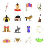 Genghis Khan, a monastery, Yurt and other sights of Mongolia. Mongolia set collection icons in cartoon style vector Royalty Free Stock Images