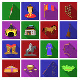 Genghis Khan, a monastery, Yurt and other sights of Mongolia. Mongolia set collection icons in flat style vector symbol Royalty Free Stock Photography