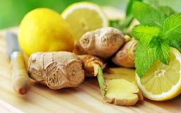 Gengibre and lemon Stock Photos