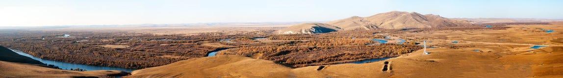 Genhe River Wetlands(panorama). The hulunbuir prairie river wetland of Genhe Royalty Free Stock Photography
