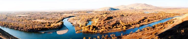 Genhe River Wetlands(panorama). The hulunbuir prairie river wetland of Genhe Stock Images