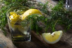 Genièvre avec le tonique et citron sur une vieille table en bois photos libres de droits
