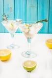 Genièvre, citron, sifflement de romarin, cocktail avec du miel et herbes fraîches o images stock