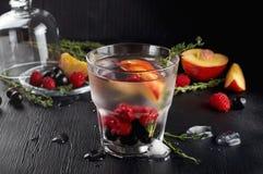 Genièvre de thym de framboise et cocktail de tonique avec le cassis et les pêches image stock