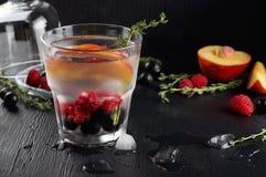 Genièvre de thym de framboise et cocktail de tonique avec le cassis et les pêches photo libre de droits