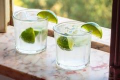 Genièvre deux froid et boissons toniques avec la chaux image libre de droits