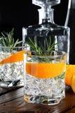 Genièvre sec classique avec le tonique et l'entrain orange image stock