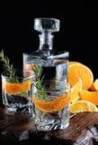 Genièvre sec classique avec le tonique et l'entrain orange images stock