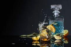 Genièvre-tonique de cocktail avec des tranches de citron et des brindilles de romarin photographie stock libre de droits