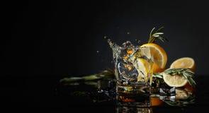 Genièvre-tonique de cocktail avec des tranches de citron et des brindilles de romarin photos stock