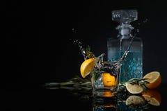 Genièvre-tonique de cocktail avec des tranches de citron et des brindilles de romarin photographie stock