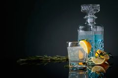Genièvre-tonique de cocktail avec des tranches de citron et des brindilles de romarin image stock