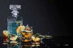 Geni?vre-tonique de cocktail avec des tranches de citron et des brindilles de romarin images libres de droits