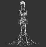 Genialna ślubna suknia royalty ilustracja