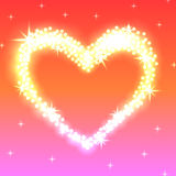 Genialny serce rozjarzeni złoci światła na menchii tle Zdjęcia Stock