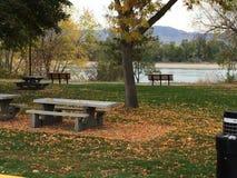 Genießen der schönen Herbstsaison am Flussuferpark Stockfotografie