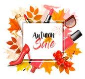 Genießen Sie Autumn Sales-Hintergrund mit Herbstlaub lizenzfreie abbildung