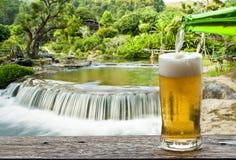 Genießen Sie Bier mit Wasserfall lizenzfreies stockbild
