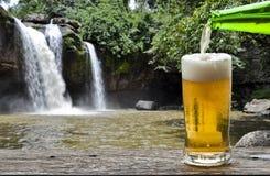 Genießen Sie Bier mit Wasserfalllandschaft stockbild