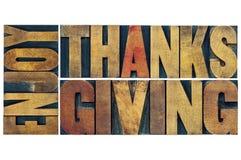 Genießen Sie Danksagungsgrußkarte stockbild