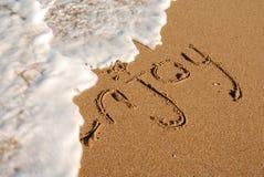 Genießen Sie den Strand: Meldung auf dem Ufer Lizenzfreie Stockbilder