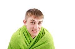 Genießen Sie eine Dusche. Isolat auf Weiß Lizenzfreie Stockfotos