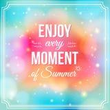 Genießen Sie jeden Moment des Sommers. Positives und helles Funkeln fant Lizenzfreies Stockfoto