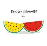 Genießen Sie Sommer mit Wassermelone stock abbildung