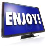 Genießen Sie Wort HDTV-Fernsehsendungs-Unterhaltung lizenzfreie abbildung