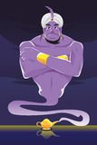 Genie. A vector illustration of a genie coming out of the genie lamp stock illustration