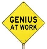 Genie bij Waarschuwing van het Werk de Gele Verkeersteken stock illustratie