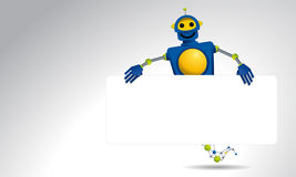 Genie blue robot holding a white banner with his hands on white background Royalty Free Stock Image