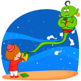 Genie coming from Eid gift Stock Image