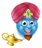 Genie Emoticon Emoji and Lamp. A cartoon emoticon or emoji genie like in the story of Aladdin coming out of a magic lamp vector illustration