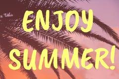 Genie?en Sie Sommerbeschriftung Tropischer Sonnenuntergang und klarer korallenroter Hintergrund der Palmbl?tter lizenzfreie abbildung