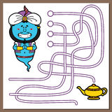 Genie game. Vector illustration of maze(labyrinth) game with cute Genie for children stock illustration