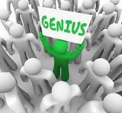 Genie glänzender Person Holding Sign Smart Intelligent Lizenzfreie Stockfotografie