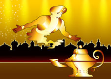 Genie in gold city Royalty Free Stock Photo