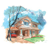 Home sweet Home. Water color sketch of a double story bungalow Royalty Free Stock Images