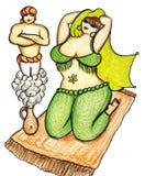 Genie and Harem Woman Royalty Free Stock Photos