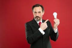 Genie-Idee Leuchten Sie Ihrem Geschäft Geschäftsmanngesellschaftsanzuggriff-Glühlampe des Mannes bärtige auf rotem Hintergrund Sy stockfotos